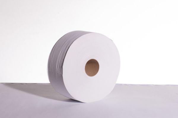20-5969_Jumbo Toilettenpapier 2-lagig Recycling weiß_280 Meter_6 Rollen_stehend