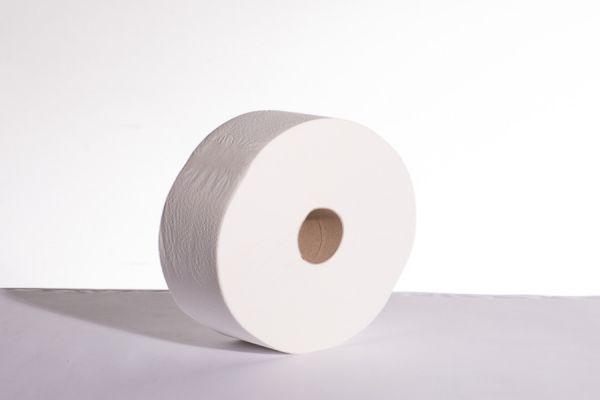 B-1575_Jumbo-Toilettenpapier hochweiß_350 Meter_6 Rollen_stehend